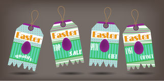 Set of four stickers with easter, violet eggs and Stock Photography