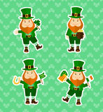 Set of four stickers with funny leprechauns Stock Photography