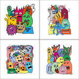 Set of four stickers monsters. Royalty Free Stock Photos