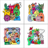 Set of four stickers monsters. Stock Images