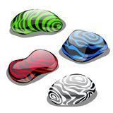 Set of four stones with polished surface and color, symbolizing the element of water, air, earth and fire isolated on. White background. Vector cartoon Royalty Free Stock Photos