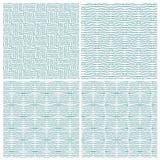 Set of four strange zigzag line patterns Royalty Free Stock Images