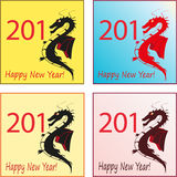Set of four stylish dragons for 2012 New Year Royalty Free Stock Photos
