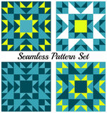 Set of four stylish geometric seamless patterns with triangles and squares of teal, yellow, blue and white shades Royalty Free Stock Photo