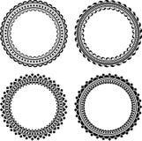 Set of four stylish round frames.  Stock Photo