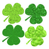 Set of four stylized  clover leaves for design to saint patrics day Stock Photo