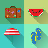 Set of Four summer icons - Suitcase, Parasol, Step-ins and Watermelon in flat style with long shadow. Set of Four summer icons - Suitcase, Parasol, Step-ins and Stock Image