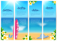 Set of four summer ocean beach vacation banners. Sea travel banners template. Set of four vector summer ocean beach vacation banners. Sea travel banners stock illustration