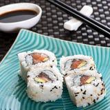 Set of four sushi rolls Stock Images
