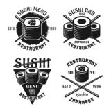Set of sushi vector emblems. Set of four sushi vector emblems, labels, badges or logos in vintage monochrome style isolated on white background royalty free illustration