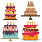 Set of four sweet birthday cake with burning candles. Colorful holiday dessert. Vector celebration background Royalty Free Stock Photo