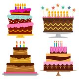 Set of four sweet birthday cake with burning candles. Colorful holiday dessert. Vector celebration background Stock Image