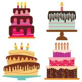 Set of four sweet birthday cake with burning candles. Colorful holiday dessert. Vector celebration background Stock Photo