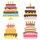 Set of four sweet birthday cake with burning candles. Colorful holiday dessert. Vector celebration background Stock Images