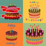 Set of four sweet birthday cakes with burning candles. Colorful holiday dessert. Vector celebration background Royalty Free Stock Photos
