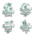 Set of four  symbols Summer Travel. Royalty Free Stock Images