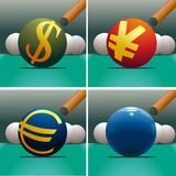 Set of four symbols US Dollar, Euro, Yuan and Eart. Set of four symbols Dollar, Euro, Yuan and Earth with billiard stock illustration