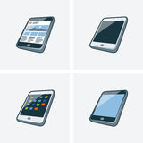 Set of four tablet illustrations. Set of four isolated tablet icon illustration in cartoon style with different screen background Stock Images
