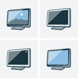 Set of four television illlustrations. Set of four television icon illustration in cartoon style with different screen background Royalty Free Stock Photos