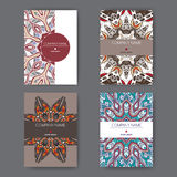 Set of four A4 templates with bright abstract pattern. Royalty Free Stock Image