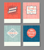 Set of four thank you greeting cards. With linen background texture stock illustration