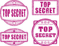 Set of four top secret red rubber stamp Stock Photos