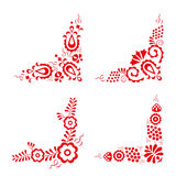 Set of four traditional folk ornaments. Hungarian decorative pattern, red embroidery isolated on a white background, vector illustration vector illustration