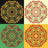 Set of four traditional Russian circular mandala patterns khokhloma. Stock Photo