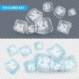 Set of four transparent ice cubes. Vector illustration Stock Photos