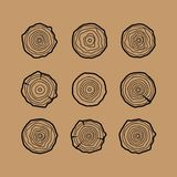 Set of four tree rings icons. Concept of saw cut tree trunk. Tree rings vector stock image