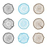 Set of four tree rings icons. concept of saw cut tree trunk, for Royalty Free Stock Photo