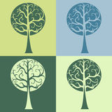 Set of four tree vector curves curls Royalty Free Stock Photography