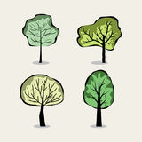 Set of four trees in abstract style Stock Image