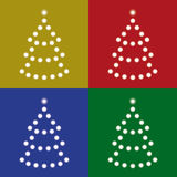 Set four trees of lights on colorful backgrounds Royalty Free Stock Image