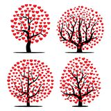 Set of four trees with red hearts. Vector illustration Stock Images