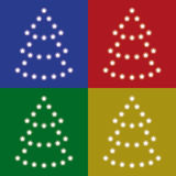 Set four trees of stars on colorful backgrounds Royalty Free Stock Photos