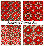 Set of four trendy geometric seamless patterns with different shapes of red, black and grey shades Stock Image