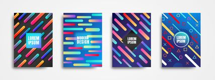 Set of 4 modern style covers backgrounds with geometric dynamic shapes. Modern colorful backgrounds stock illustration