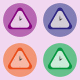 Set of four triangle clock at the light violet background Royalty Free Stock Photo