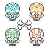 Set of four tribal skulls Royalty Free Stock Images