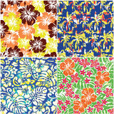 Set of four tropical grunge flowers fabric Royalty Free Stock Image