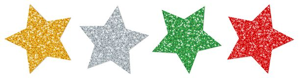 Set Of Four Twisted Stars Sparkling Gold Silver Red Green royalty free illustration