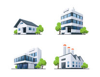 Set of Four Types Buildings Illustration with Trees Royalty Free Stock Photo