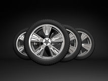 Set four tyres. 3d rendering Royalty Free Stock Images