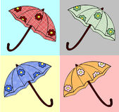Set of four umbrellas Royalty Free Stock Photo