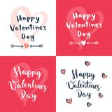 Set of four Valentine`s Day designs. Romantic greeting card, invitation, poster design templates Stock Images