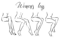 Set of women`s legs. Icons for spa treatmens, hair removal, massage etc stock illustration