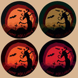 Set of four variations halloween horror landscapes with scary tree Stock Image