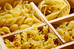 Set of four varieties of pasta Stock Photos
