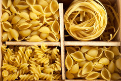 Set of four varieties of pasta Royalty Free Stock Photo